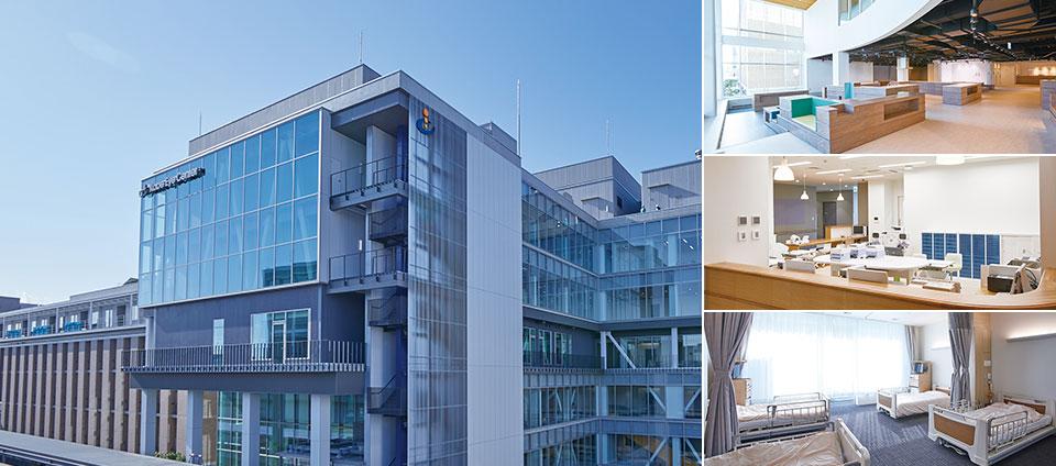 写真:神戸市立アイセンター病院外観、ピジョンパーク、スタッフステーション・病室